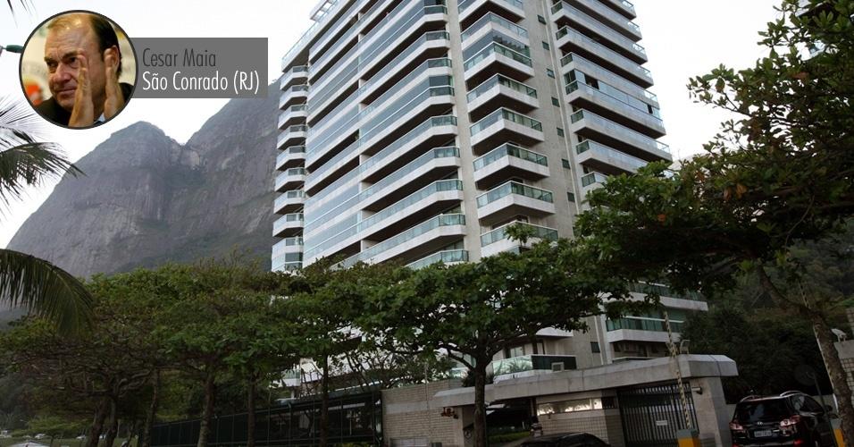 Prédio no bairro de São Conrado, área nobre da zona sul do Rio de Janeiro, onde o ex-prefeito do Rio de Janeiro, Cesar Maia (DEM), possui um imóvel. Em 1998, Maia declarou que o apartamento valia R$ 500 mil. Hoje, estima-se que os apartamentos valham mais de US$ 1 milhão