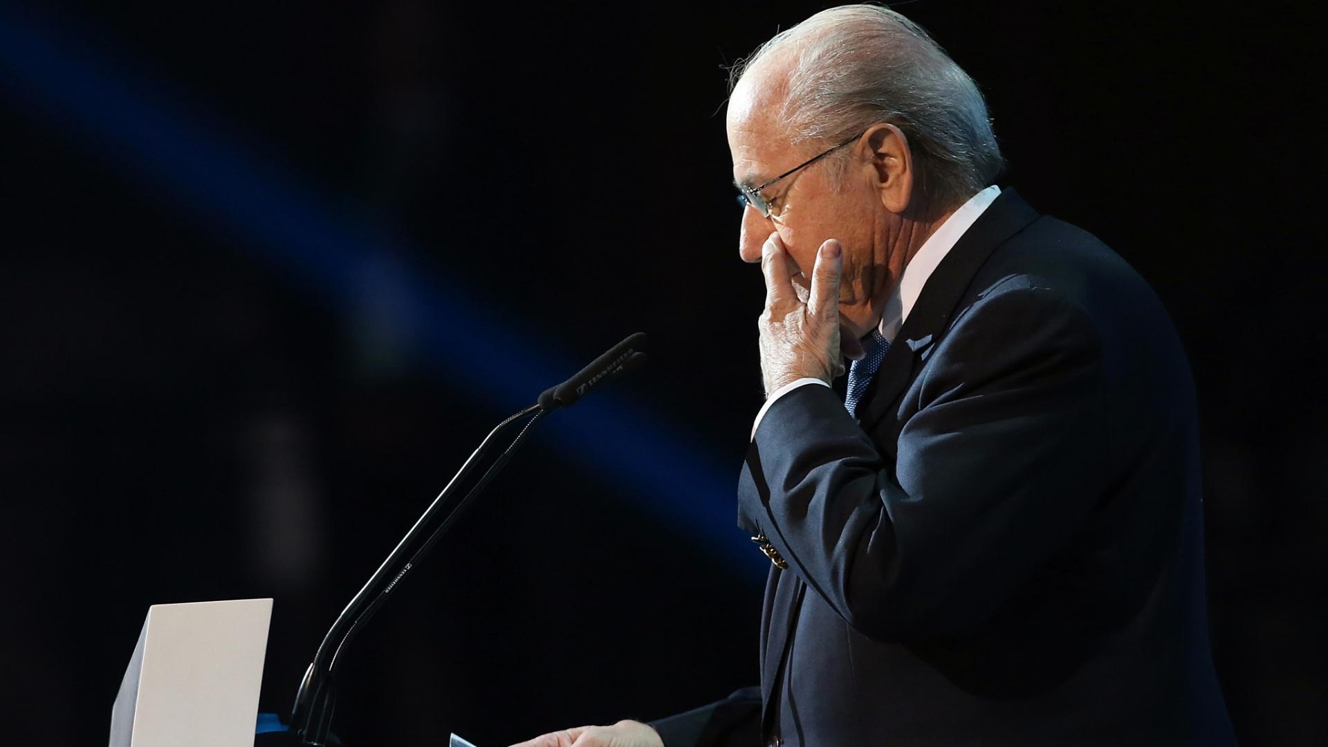 01.dez.2012 - Joseph Blatter, presidente da Fifa, abre os trabalhos na cerimônia de sorteio dos grupos da Copa das Confederações de 2013, que acontece em São Paulo, no Anhembi.