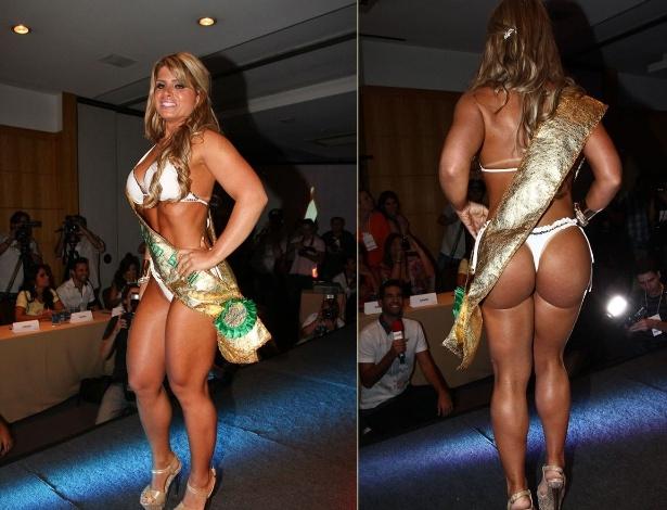 A vencedora do concurso Miss Bumbum de 2012, Carine Felizardo (30.nov.2012) - Cláudio Augusto e Celso Akin/Foto Rio News