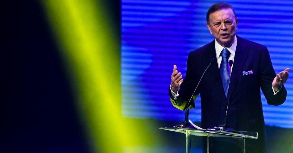 03.dez.2012 - José Maria Marin, presidente da CBF, discursa durante cerimônia do Prêmio do Brasileirão