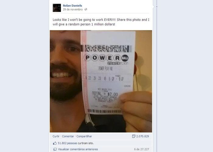 03.dez.2012 - O usuário do Facebook Nolan Daniels postou uma foto no dia 29 de novembro comunicando que havia ganhado na loteria.