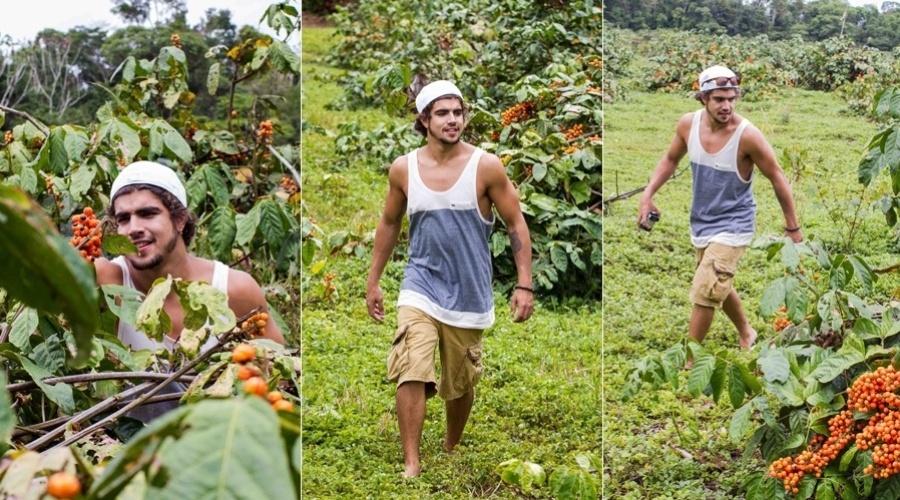 3.dez.2012 - O ator Caio Castro visitou uma plantação de guaraná em Maués, no Amazonas