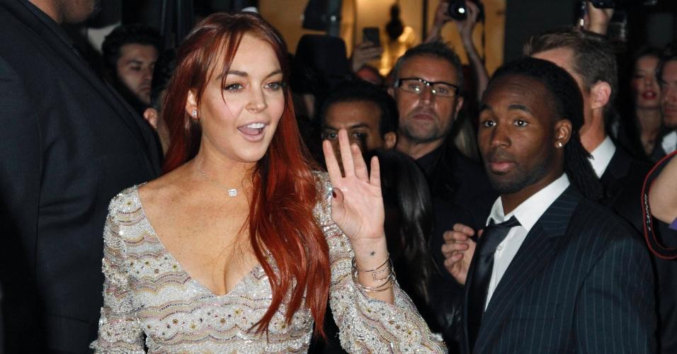 A atriz Lindsay Lohan vai a lançamento de bebida energética em Beverly Hills (11/10/12)