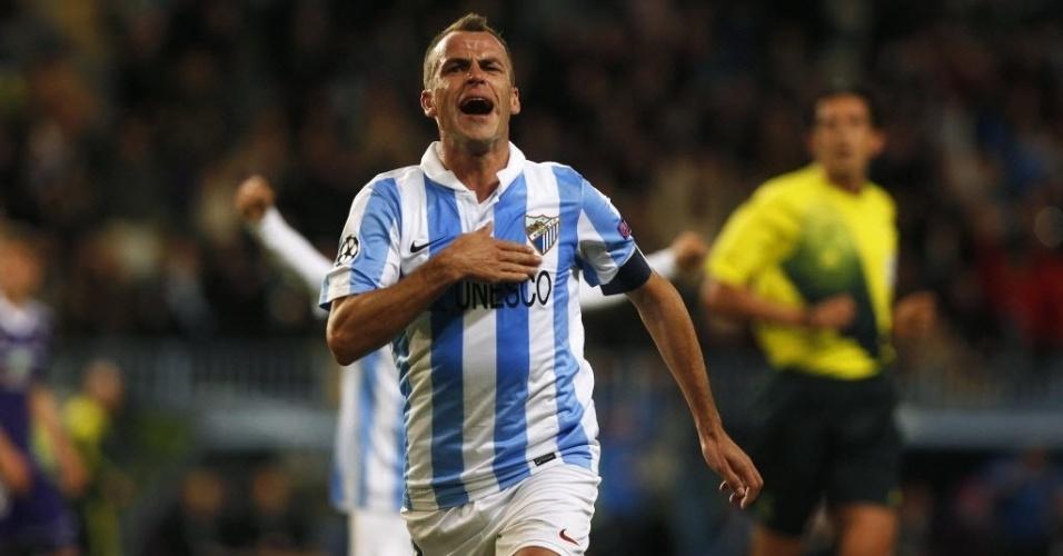 04.dez.2012 - Sergio Duda comemora depois de marcar o gol para o Málaga na partida contra o Anderlecht, pela Liga dos Campeões
