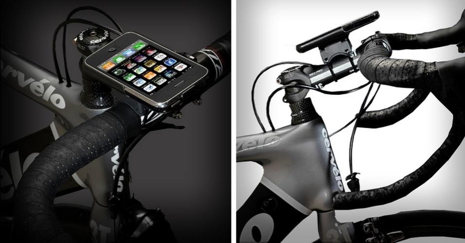 4.dez.2012 - O gadget GoRide é um acessório que permite ao usuário fixar (de forma aparentemente segura) o iPhone na bicicleta enquanto pedala por ai. Por US$ 30 (cerca de R$ 60), o equipamento prende o smartphone na bike, mas não protege contra impactos. Bases adicionais podem ser adquiridas por U$ 10 (cerca de R$ 20)