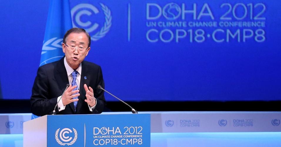 """4.dez.2012 - Ban Ki-moon, secretário-geral da ONU (Organização das Nações Unidas), falou que espera um """"compromisso firme"""" dos quase 190 países presentes na COP 18, cúpula sobre as mudanças climáticas que ocorre em Doha, no Catar, para alcançar um acordo até o fim da semana"""