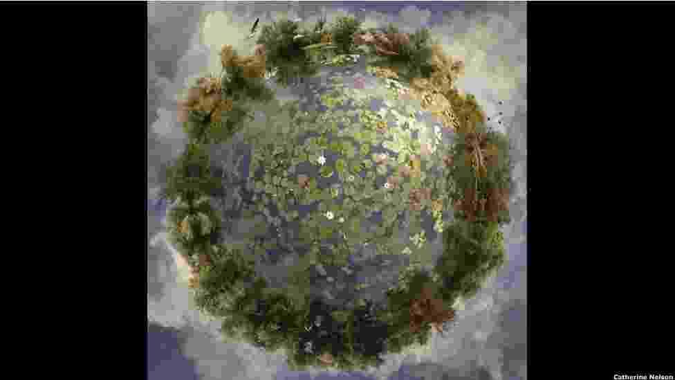 """4.nov.2012 - A artista visual australiana Catherine Nelson, que trabalhou com efeitos especiais nos filmes da série """"Harry Potter"""", cria planetas fantásticos em suas obras - Catherine Nelson"""