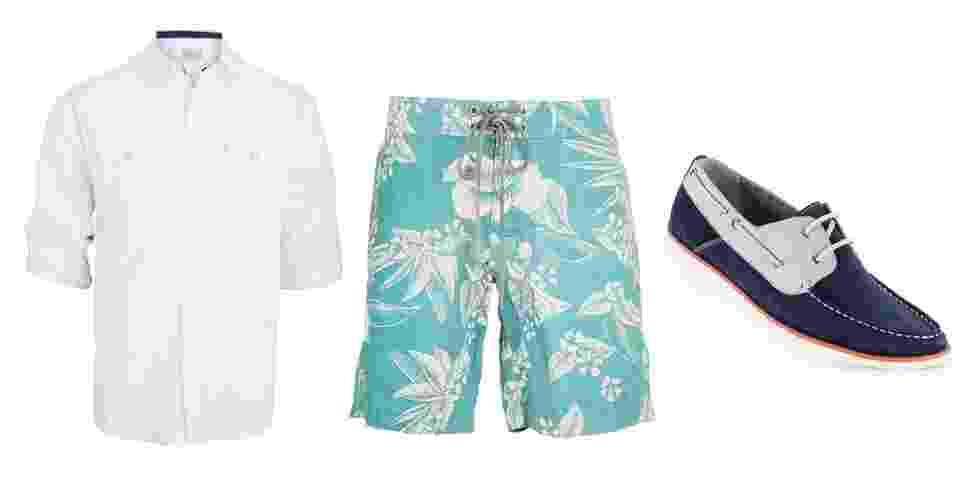 A bermuda de surfe pode ser usada com camisa e mocassim de estilo náutico em uma combinação mais urbana - Divulgação