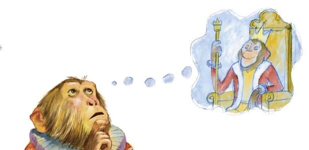 Macaco Puxa-Saco vai ajudar o leão a achar um novo rei no livro O Leão de Tanto Urrar Desanimou