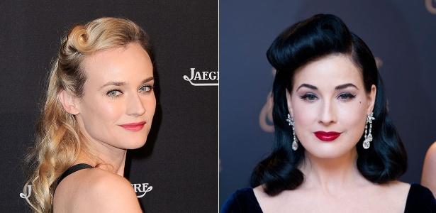 Diane Kruger e Dita Von Teese exibem looks feitos com o rolinho na altura da franja - Getty Images