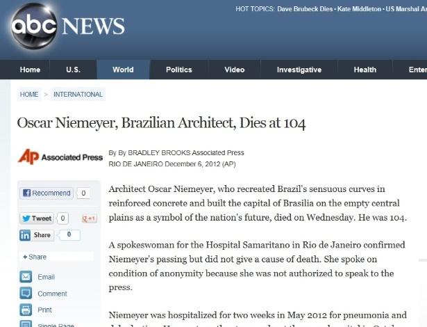 5.dez.2012 - ABC News fala da morte do arquiteto brasileiro Oscar Niemeyer aos 104 anos nesta quarta-feira