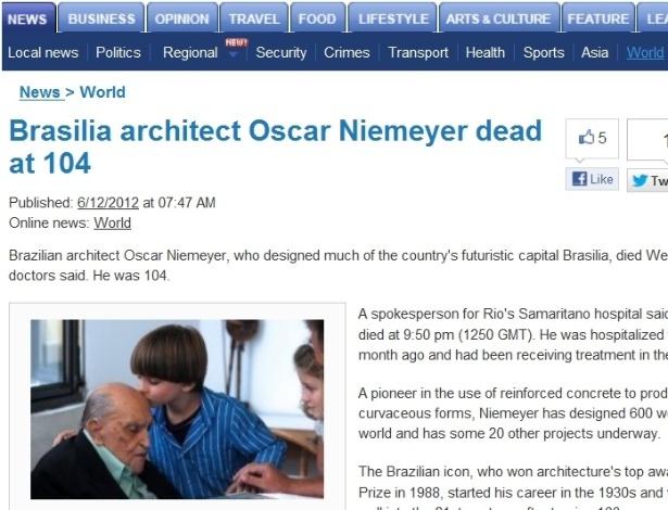 5.dez.2012 - Bangkok Post fala da morte do arquiteto brasileiro Oscar Niemeyer aos 104 anos nesta quarta-feira