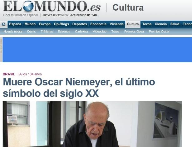 5.dez.2012 - El Mundo fala da morte do arquiteto brasileiro Oscar Niemeyer aos 104 anos nesta quarta-fei