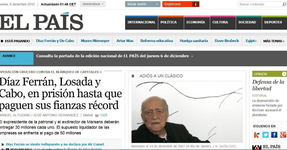 5.dez.2012 - O jornal espanhol El Pais destaca na capa de sua versão online a morte do arquiteto brasileiro Oscar Niemeyer aos 104 anos nesta quarta-feira. 'Adeus ao clássico', diz. Já no texto, o arquiteto é lembrado como o 'poeta da curva'