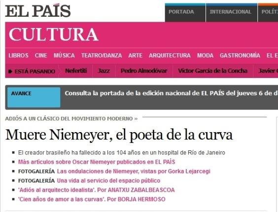 5.dez.2012 - El Pais fala da morte do arquiteto brasileiro Oscar Niemeyer aos 104 anos nesta quarta-feira. No texto, o arquiteto é lembrado como o 'poeta da curva'