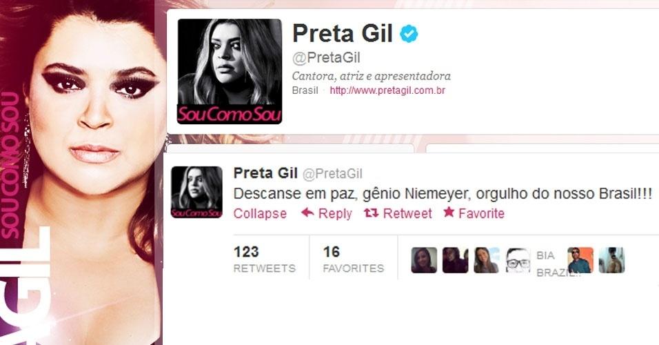 5.dez.2012 - A cantora Preta Gil repercute a notícia da morte do arquiteto Oscar Niemeyer no Twitter