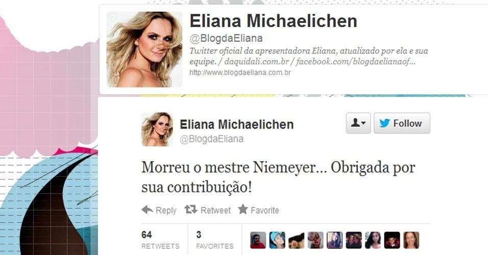 5.dez.2012 - A apresentadora Eliana repercute a notícia da morte do arquiteto Oscar Niemeyer no Twitter