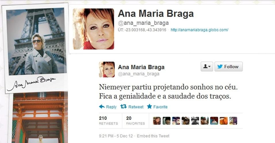 5.dez.2012 - A apresentadora Ana Maria Braga repercurte a notícia da morte do arquiteto Oscar Niemeyer no Twitter