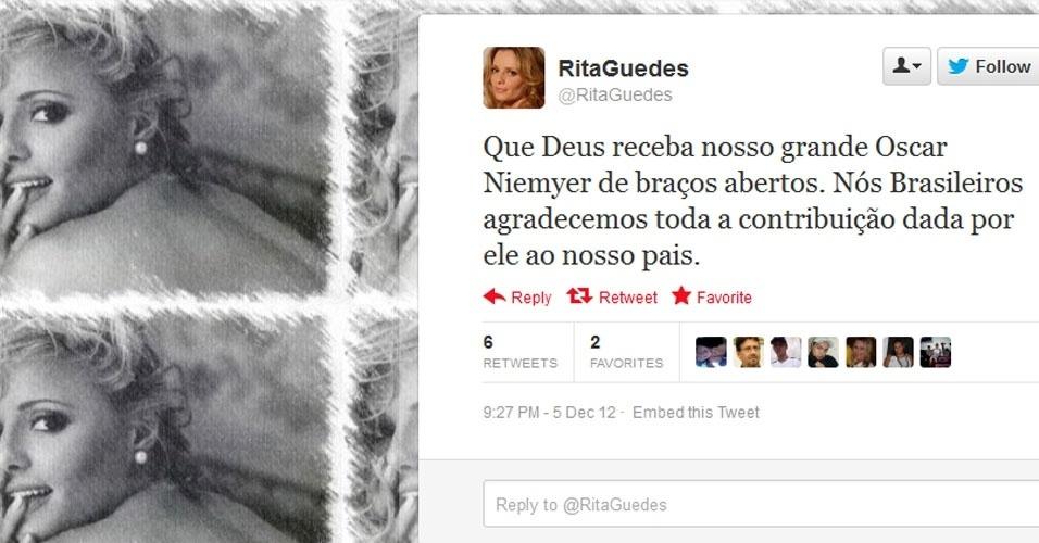 5.dez.2012 - A atriz Rita Guedes repercurte a notícia da morte do arquiteto Oscar Niemeyer no Twitter