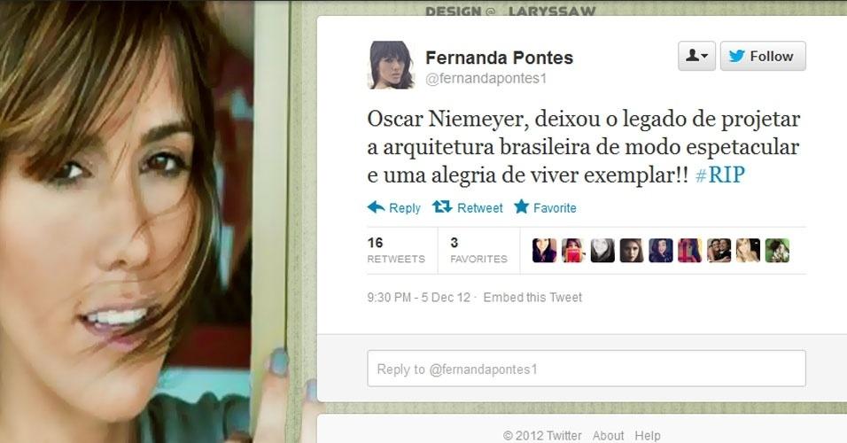 5.dez.2012 - A atriz e apresentadora Fernanda Pontes repercurte a notícia da morte do arquiteto Oscar Niemeyer no Twitter