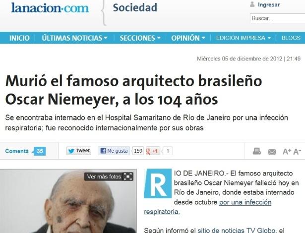 5.dez.2012 - La Nacion fala da morte do arquiteto brasileiro Oscar Niemeyer aos 104 anos nesta quarta-fei