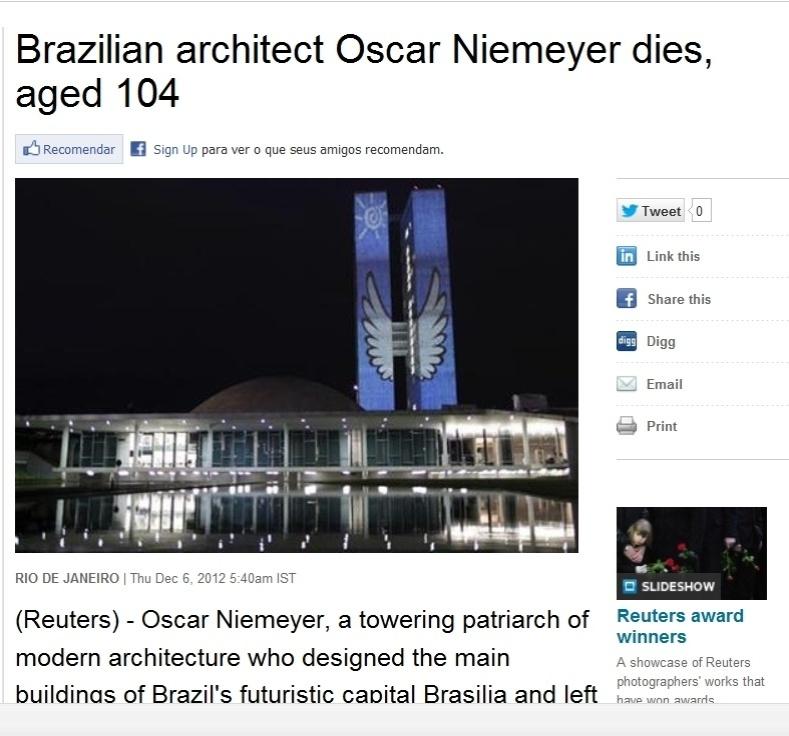 5.dez.2012 - Reuters destaca a morte do arquiteto brasileiro Oscar Niemeyer aos 104 anos nesta quarta-feira poucos minutos depois da confirmação da morte