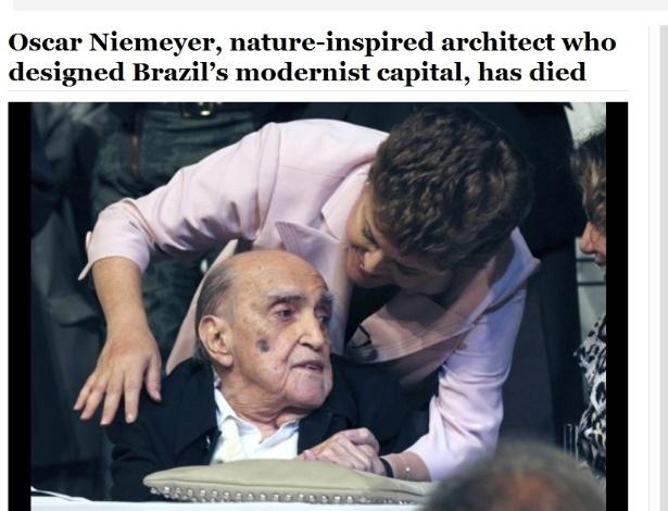 5.dez.2012 - Washington Post fala da morte do arquiteto brasileiro Oscar Niemeyer aos 104 anos nesta quarta-feira
