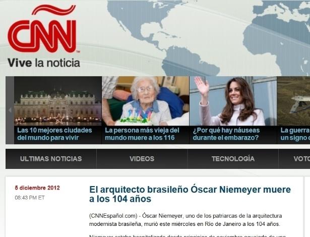 5.dez.2012 - CNN em espanhol fala da morte do arquiteto brasileiro Oscar Niemeyer aos 104 anos nesta quarta-feira