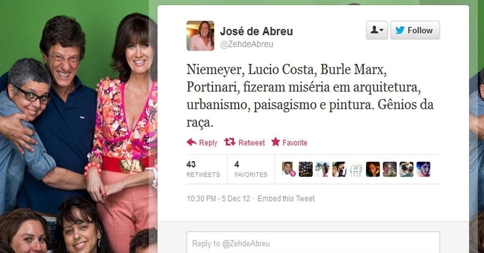 5.dez.2012 - O ator José de Abreu comenta sobre a morte do arquiteto Oscar Niemeyer no Twitter