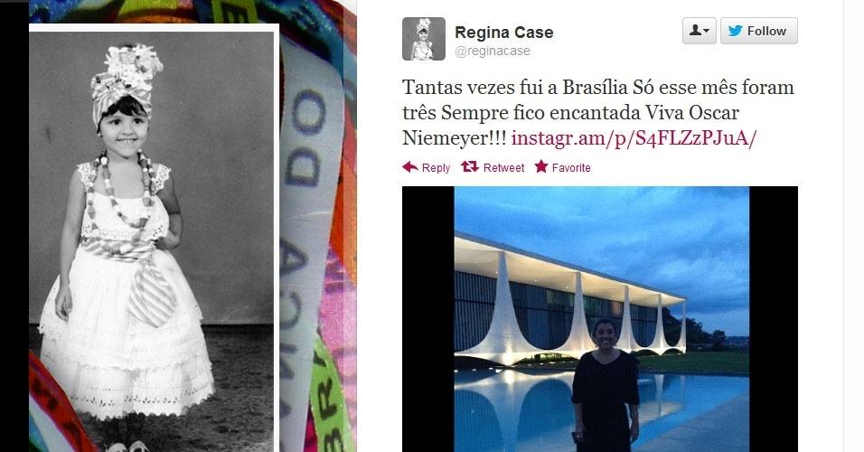 5.dez.2012 - A apresentadora Regina Casé comenta sobre a morte do arquiteto Oscar Niemeyer no Twitter