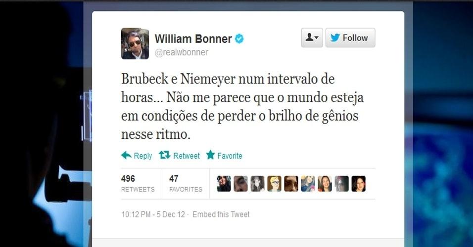 5.dez.2012 - O jornalista William Bonner comenta sobre a morte do arquiteto Oscar Niemeyer no Twitter