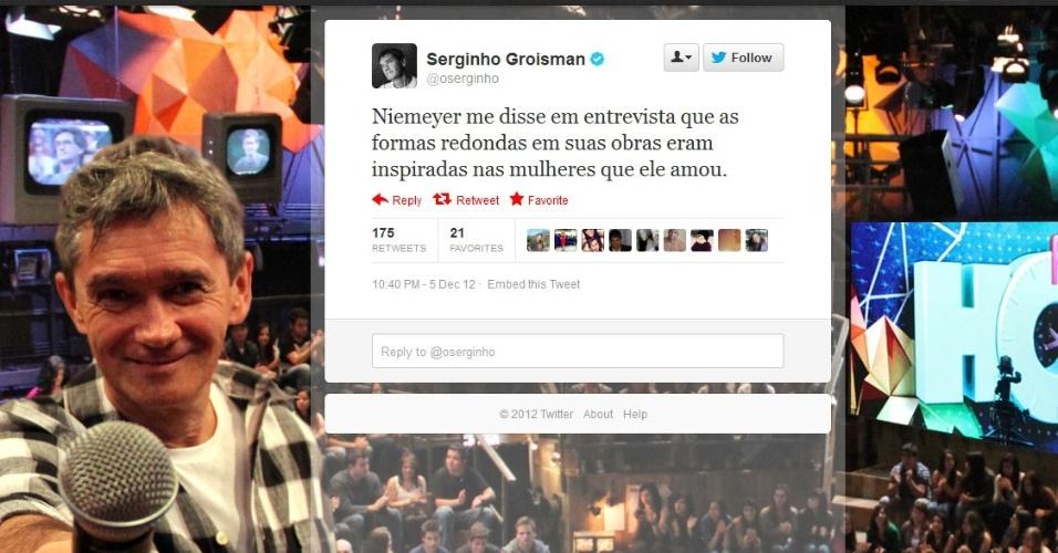 5.dez.2012 - O apresentador da Rede Globo Serginho Groisman comenta no Twitter sobre a morte do arquiteto Oscar Niemeyer