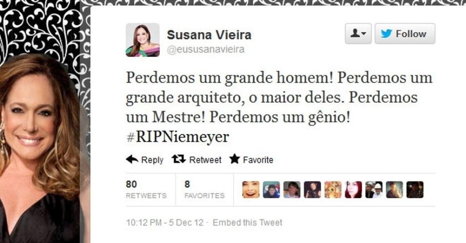 5.dez.2012 - A atriz da Rede Globo Suzana Vieira comenta sobre a morte do arquiteto Oscar Niemeyer no Twitter