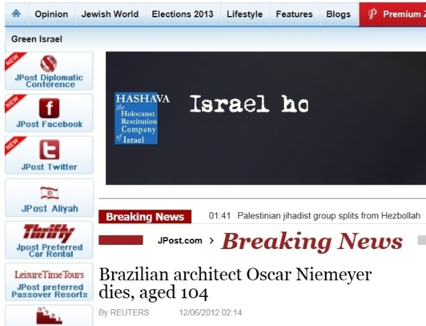5.dez.2012 - Jerusalem Post fala da morte do arquiteto brasileiro Oscar Niemeyer aos 104 anos nesta quarta-feira