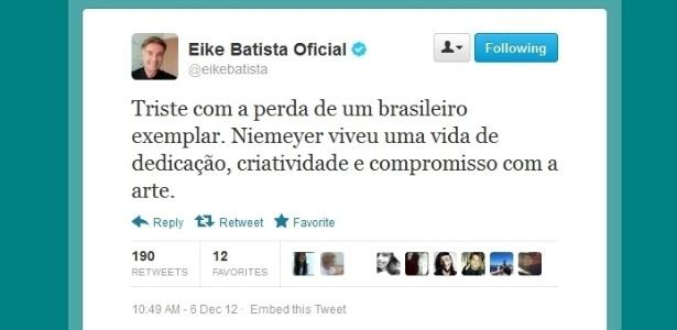 5.dez.2012 - O empresário Eike Batista elogia Oscar Niemeyer em postagem sobre a morte do arquiteto no Twitter