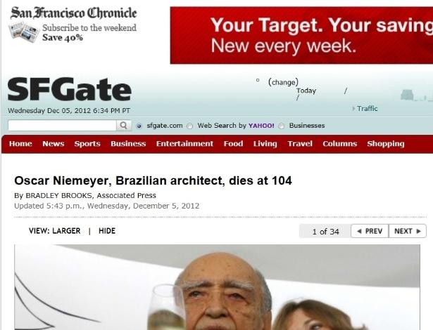 5.dez.2012 - San Francisco Chronicle fala da morte do arquiteto brasileiro Oscar Niemeyer aos 104 anos nesta quarta-feira