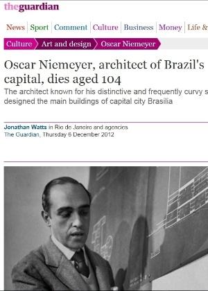 5.dez.2012 - The Guardian fala da morte do arquiteto brasileiro Oscar Niemeyer aos 104 anos nesta quarta-feira