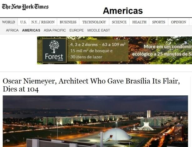 5.dez.2012 - The New York Times fala da morte do arquiteto brasileiro Oscar Niemeyer aos 104 anos nesta quarta-feira. Título diz que o arquiteto 'deu a Brasília o seu charme'