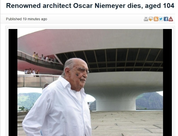 5.dez.2012 - The Star fala da morte do arquiteto brasileiro Oscar Niemeyer aos 104 anos nesta quarta-feira