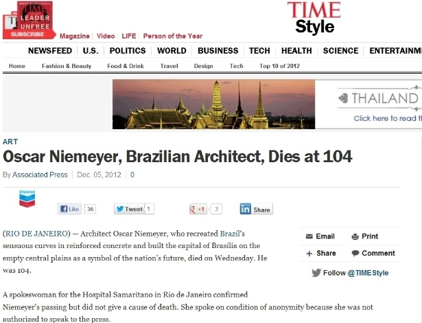 5.dez.2012 - Time fala da morte do arquiteto brasileiro Oscar Niemeyer aos 104 anos nesta quarta-feira. Texto diz que o arquiteto recriou as curvas brasileiras no concreto