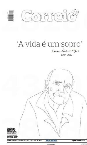6.dez.2012 - A capa do jornal baiano Correio é dedicada a Oscar Niemeyer