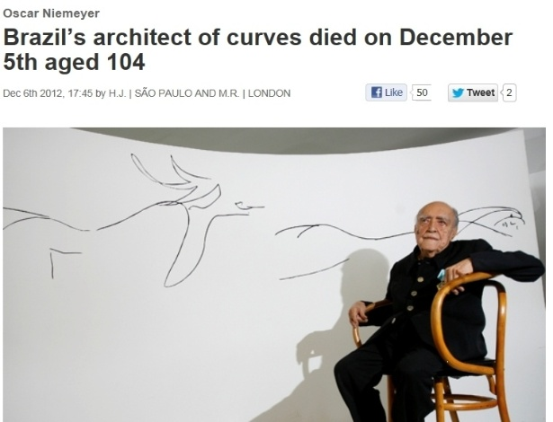 6.dez.2012 - A revista britânica The Economist destaca a morte do arquiteto brasileiro Oscar Niemeyer na sua edição desta quinta-feira. No título, Niemeyer é chamado de 'arquiteto das curvas' e, em uma elogiosa introdução, o texto relata que, como nenhum outro arquiteto brasileiro, ele conseguiu transformar o 'funcionalismo de Le Corbusier em um minimalismo sensual', encontrando 'poesia no concreto'