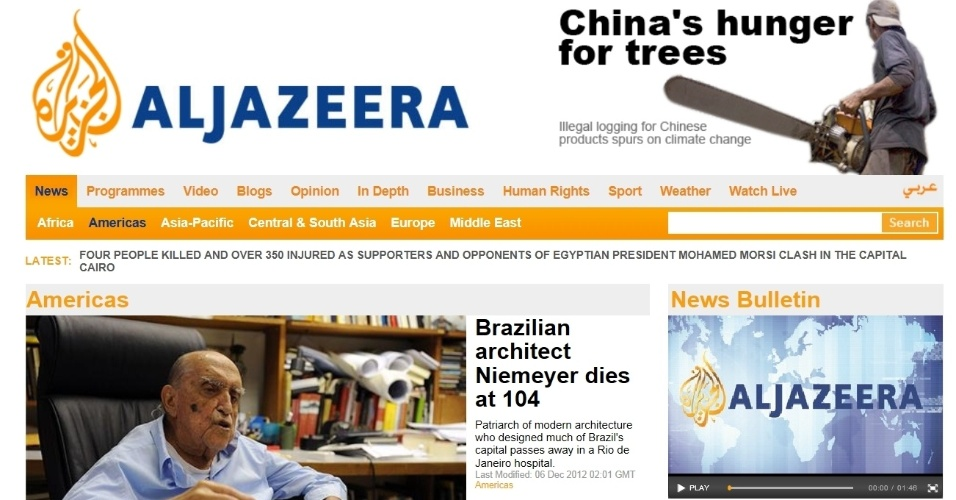 6.dez.2012 - Al Jazeera fala da morte do arquiteto brasileiro Oscar Niemeyer aos 104 anos nesta quarta-feira (5). Texto ochama 'de patriarca da arquitetura moderna'