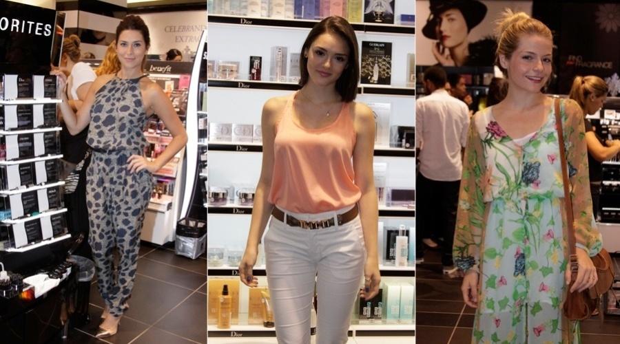 6.dez.2012 - As atrizes Fernanda Paes Leme, Isabelle Drummond e Vitória Frate prestigiaram a abertura de uma loja de cosméticos em um shopping da zona sul do Rio