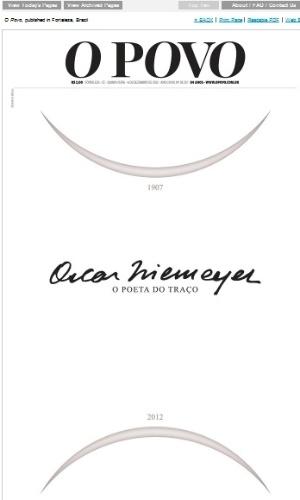 6.dez.2012 - Capa do jornal cearense O Povo homenageia Oscar Niemeyer, morto aos 104 anos nesta quarta-feira (5)