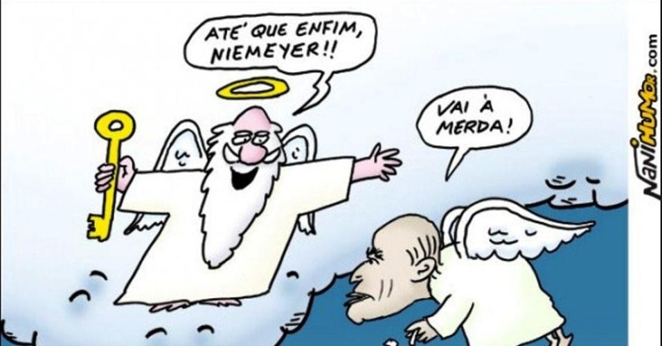 6.dez.2012 -  Chargistas brasileiros retratam Oscar Niemeyer