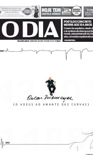 """6.dez.2012 - O jornal carioca O Dia traz em sua edição capa especial para a morte de Oscar Niemeyer e chama o arquiteto de o """"poeta do concreto"""""""