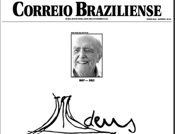 """6.dez.2012 - O jornal Correio Braziliense destaca o brasileiro Oscar Niemeyer como """"o homem que forjou a alma brasiliense em arrojadas curvas de concreto e vidro."""" O arquiteto morreu aos 104 anos, nesta quarta-feira (5)"""