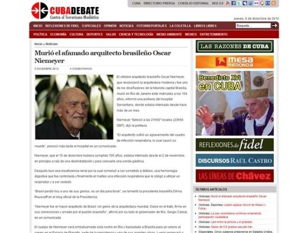 6.dez.2012 - O jornal cubano Cubadebate fala da morte do arquiteto brasileiro Oscar Niemeyer, aos 104 anos, nesta quarta-feira (5)