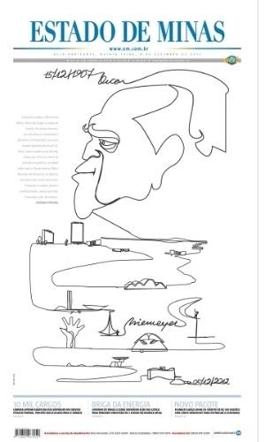 6.dez.2012 - O jornal O Estado de Minas traz capa dedicada a Oscar Niemeyer, morto aos 104 anos nesta quarta-feira (5)